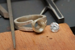 Stage 5 Tapered Collet and Split Shank Ring with Set Gem
